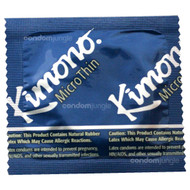 A front side image of a single Kimono MicroThin Condom.