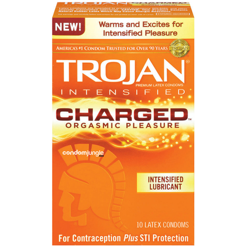 Small CondomsA front side image of the retail box of 10 Trojan Charged Orgasmic Pleasure Lubricated Condoms.