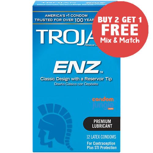 Trojan ENZ Lubricated (front) - Buy 2 Get 1 Free.