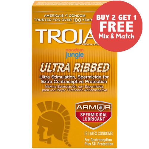 Trojan Ultra Ribbed Spermicidal