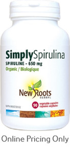 New Roots Simply Spirulina 650mg Certified Organic 90caps
