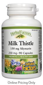 Natural Factors Milk Thistle 150mg Silymarin 250mg 90caps