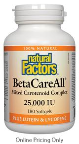NATURAL FACTORS BETACAREALL 25,000IU 180sg