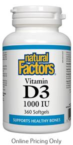 Natural Factors Vitamin D3 1000IU 360sg