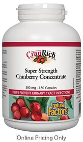 Natural Factors CranRich Organic Super Strength Cranberry Concentrate 500mg 180caps