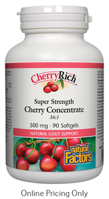 NATURAL FACTORS CHERRY RICH SUPER STRENGTH CONCENTRATE 500mg 90sg