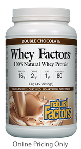 NATURAL FACTORS WHEY FACTORS HIGH PROTEIN FORMULA DOUBLE CHOCOLATE 1kg