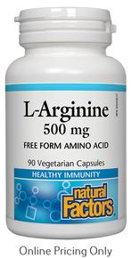 NATURAL FACTORS L-ARGININE 500mg 90vcaps