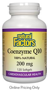 Natural Factors CoEnzyme Q10 200mg 120sg