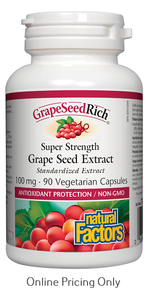 NATURAL FACTORS GRAPE SEED RICH SUPER STRENGTH GRAPE SEED EXTRACT 100mg 90vcaps