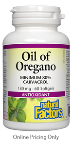 NATURAL FACTORS ORGANIC OIL OF OREGANO 180mg 60sg