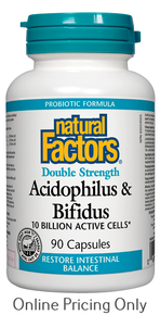 Natural Factors Acidophilus and Bifidus Double Strength 90caps
