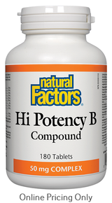 Natural Factors Hi Potency B Compound 50mg 180tabs