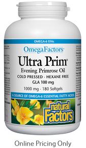 Natural Factors Omega Factors Ultra Prim Evening Primrose Oil 1000mg 180sg