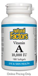 NATURAL FACTORS VITAMIN A 10,000IU 180sg