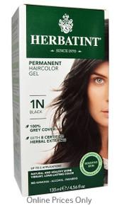 Herbatint Permanent Herbal Haircolour Gel with Aloe Vera 1N 135ml