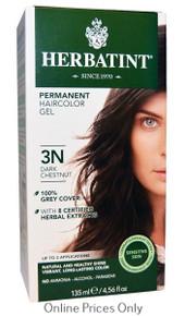 Herbatint Permanent Herbal Haircolour Gel With Aloe Vera 3N 135ml