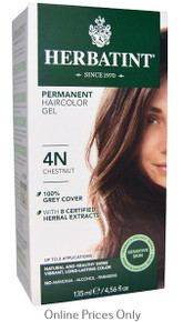 Herbatint Permanent Herbal Haircolour Gel With Aloe Vera 4N 135ml