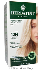 Herbatint Permanent Herbal Haircolour Gel with Aloe Vera 10N 135ml