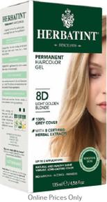 Herbatint Permanent Herbal Haircolour Gel With Aloe Vera 8D 135ml