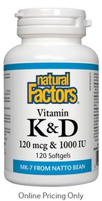 Natural Factors Vitamin K 120mcg and D 1000IU 120sg