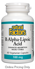 Natural Factors R-Alpha-Lipoic Acid 100mg Enhanced Absorption 60vcaps
