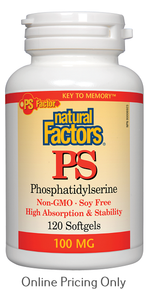 NATURAL FACTORS PHOSPHATIDYLSERINE NON-GMO SOY FREE100mg 120sg
