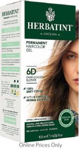 Herbatint Permanent Herbal Haircolour Gel With Aloe Vera 6D 135ml