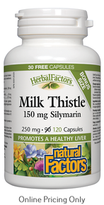 Natural Factors Milk Thistle 150mg Silymarin 250mg 120caps