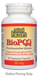 Natural Factors Bio PQQ (Pyrroloquinoline Quinone) 20mg 30vcaps