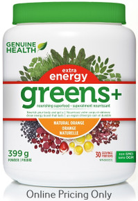 Genuine Health Greens+ Extra Energy Natural Orange 399g