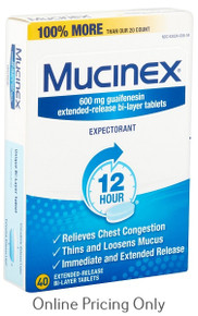 Mucinex Extended-Release Bi-Layer Tablet 12hr 600mg 40tabs