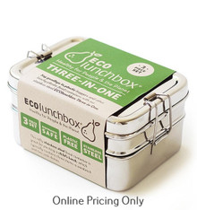 EcoLunchBox Three in One (2 Levels Plus Snack Container) Set