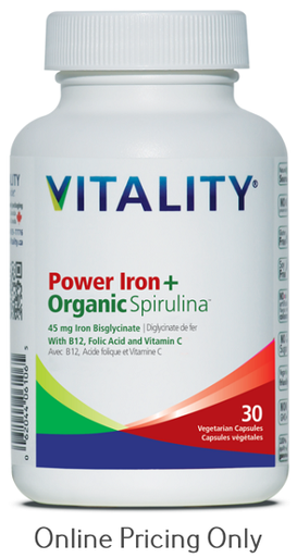 Vitality Power Iron Organic Spirulina 30caps