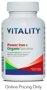 Vitality Power Iron Organic Spirulina 60caps