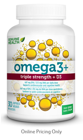 Genuine Health Omega3+ Triple Strength+ D3 30caps