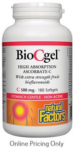 Natural Factors Bio C Gel High Absorption Ascorbate C 500mg 180sg