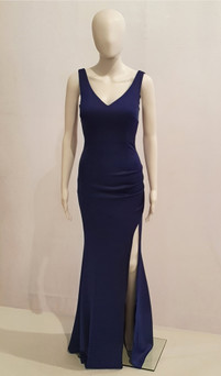 STRETCH JERSEY PLAIN FORMAL GOWN WITH SPLIT - IMAGE 1