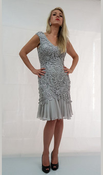 Image 1 - Cocktail Party Dress Silk & Lace Style E402