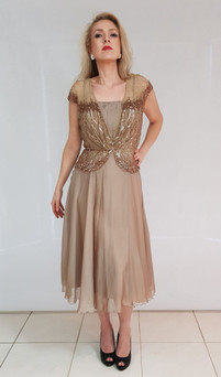 chiffon dress with attached hand beaded top style M301 - image 4