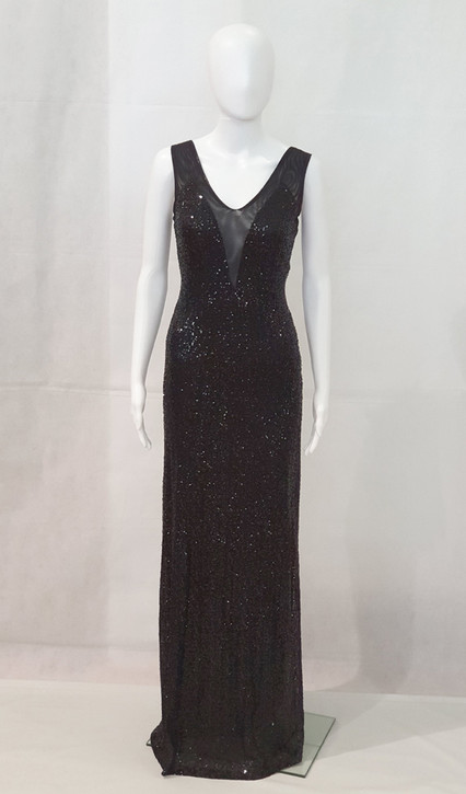 Stretch black sequin formal dress with sheer insert- image 1