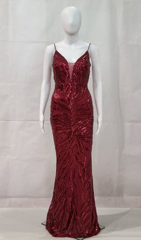 STRETCH SEQUIN DEEP V FITTED FORMAL GOWN - IMAGE 2