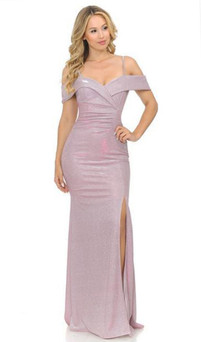 Pink Metallic Shimmer off-shoulder dress with split style E610 - Image 1