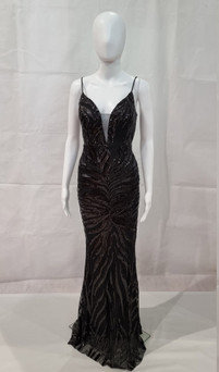 SEQUIN PATTERN DEEP V GLAMOROUS FORMAL GOWN - IMAGE 2
