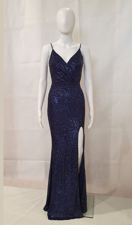 Style EC34 Formal Sequin gown with split - Image 1