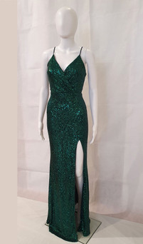 Emerald Dress with split formal evening sparkly gown Style EC33 - IMAGE 1