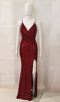 Burgundy Stretch Sequin Formal Evening Dress Style EC34 - IMAGE 1