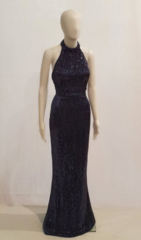 Stretch Sequin Halterneck Gown with Open Back Style EC33N