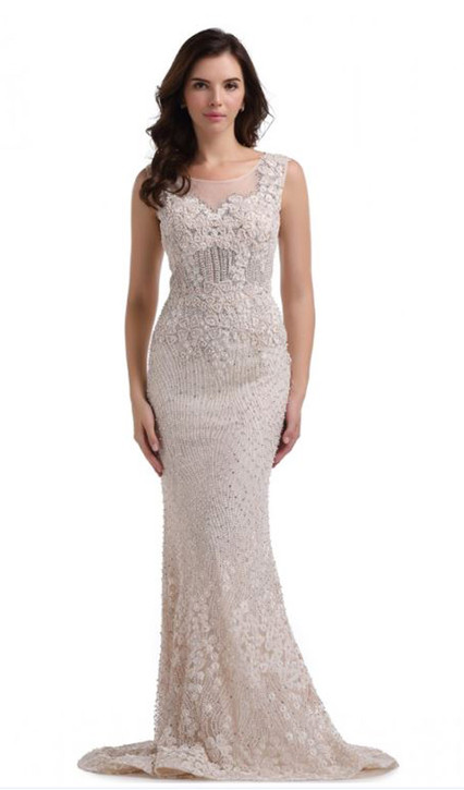 HAND MADE PEARL BEADED RED CARPET COUTURE GOWN STYLE RC578 - IMAGE 5