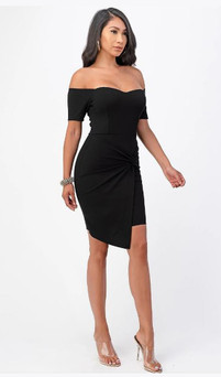 Black off shoulder stretch jersey dress with front twist - image 1